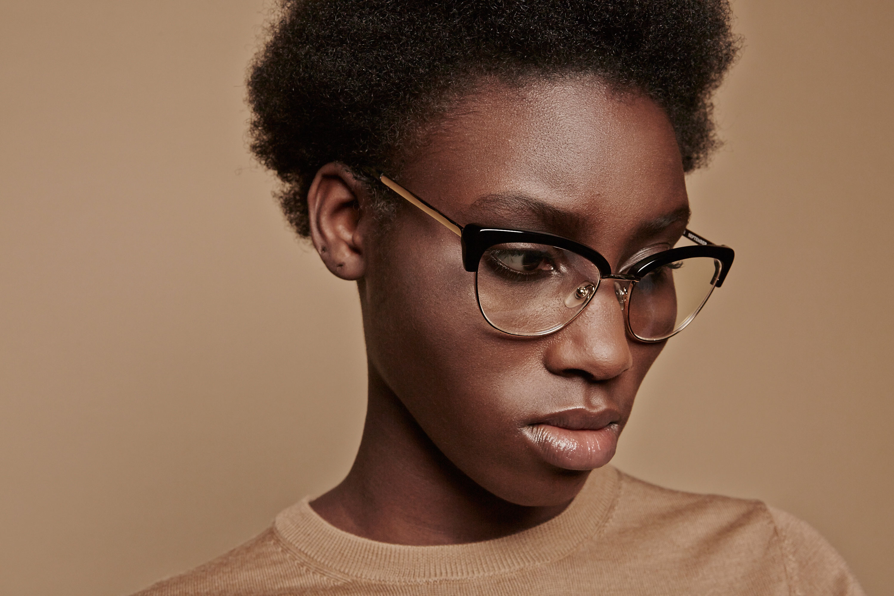 September acetate/metal cat eye black sunglasses by GIGI Studios