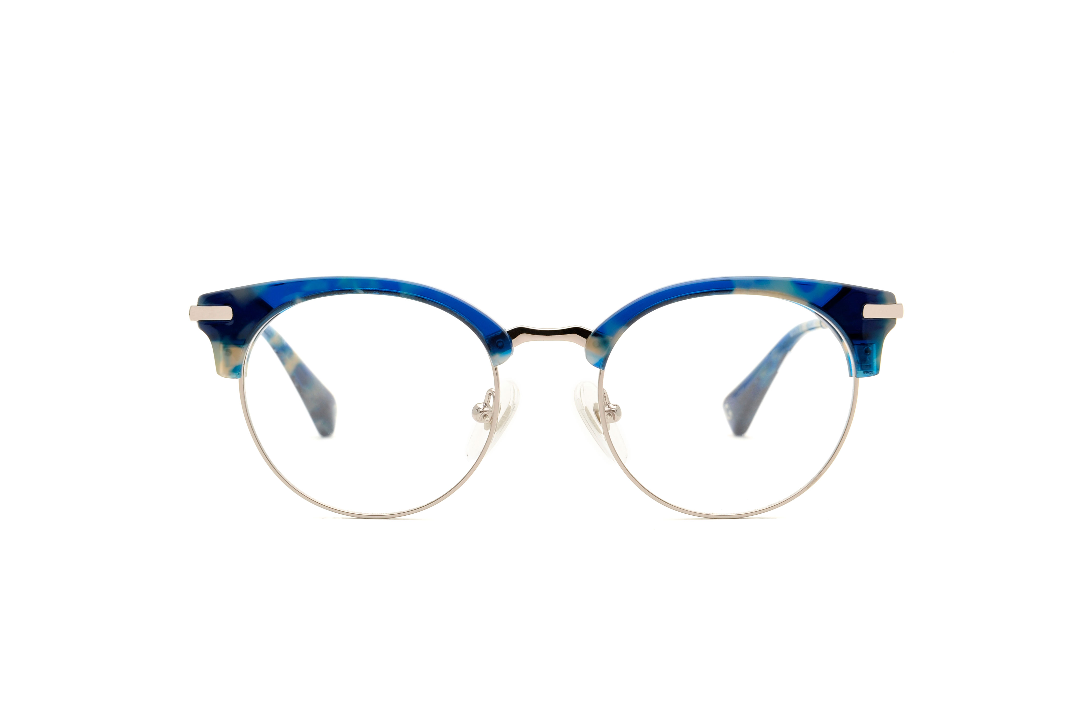 Tyler acetate/metal rounded blue sunglasses by GIGI Studios