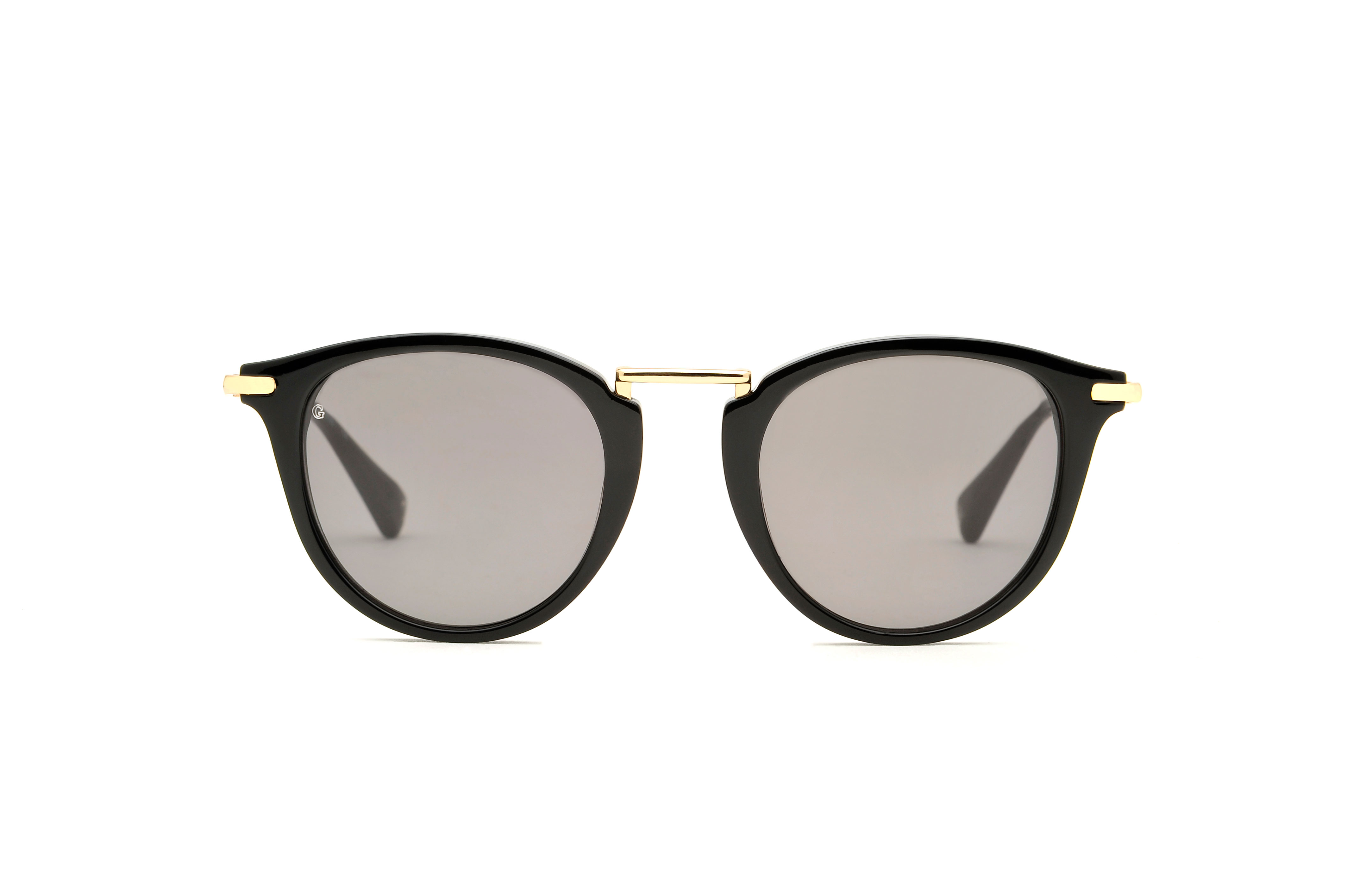 Lucky acetate/metal rounded black sunglasses by GIGI Studios
