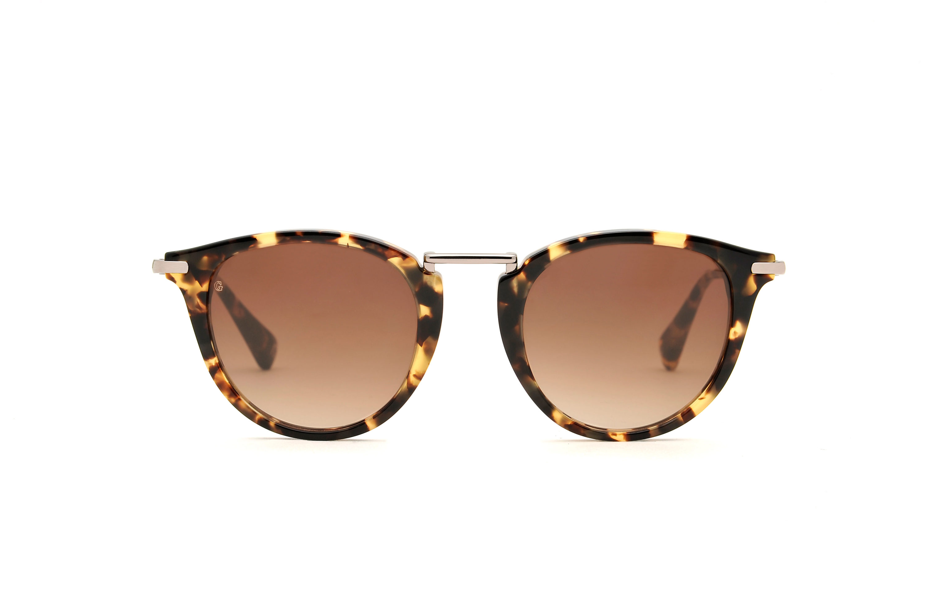 Lucky acetate/metal rounded tortoise sunglasses by GIGI Studios
