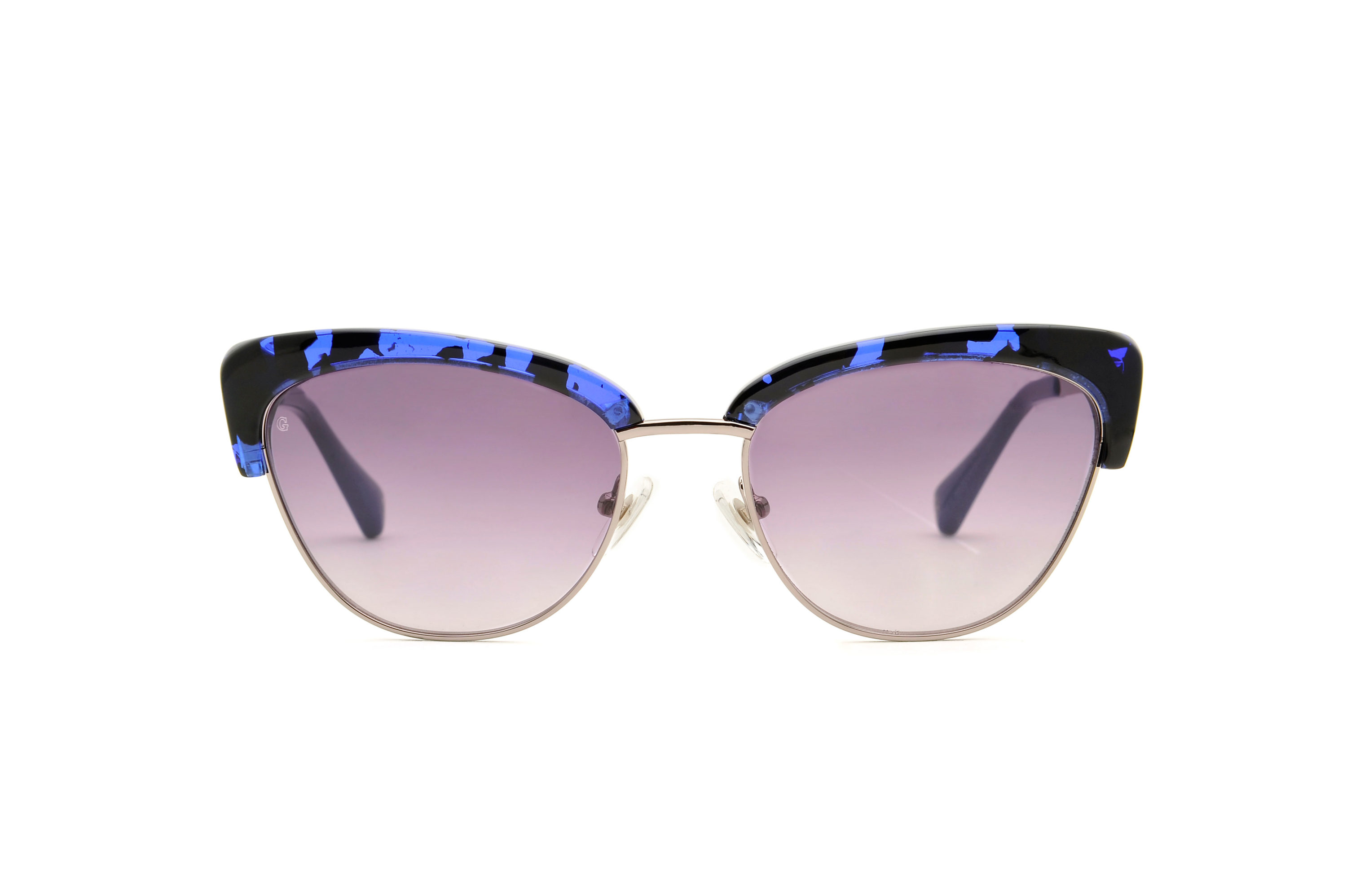 Grace acetate/metal cat eye blue sunglasses by GIGI Studios