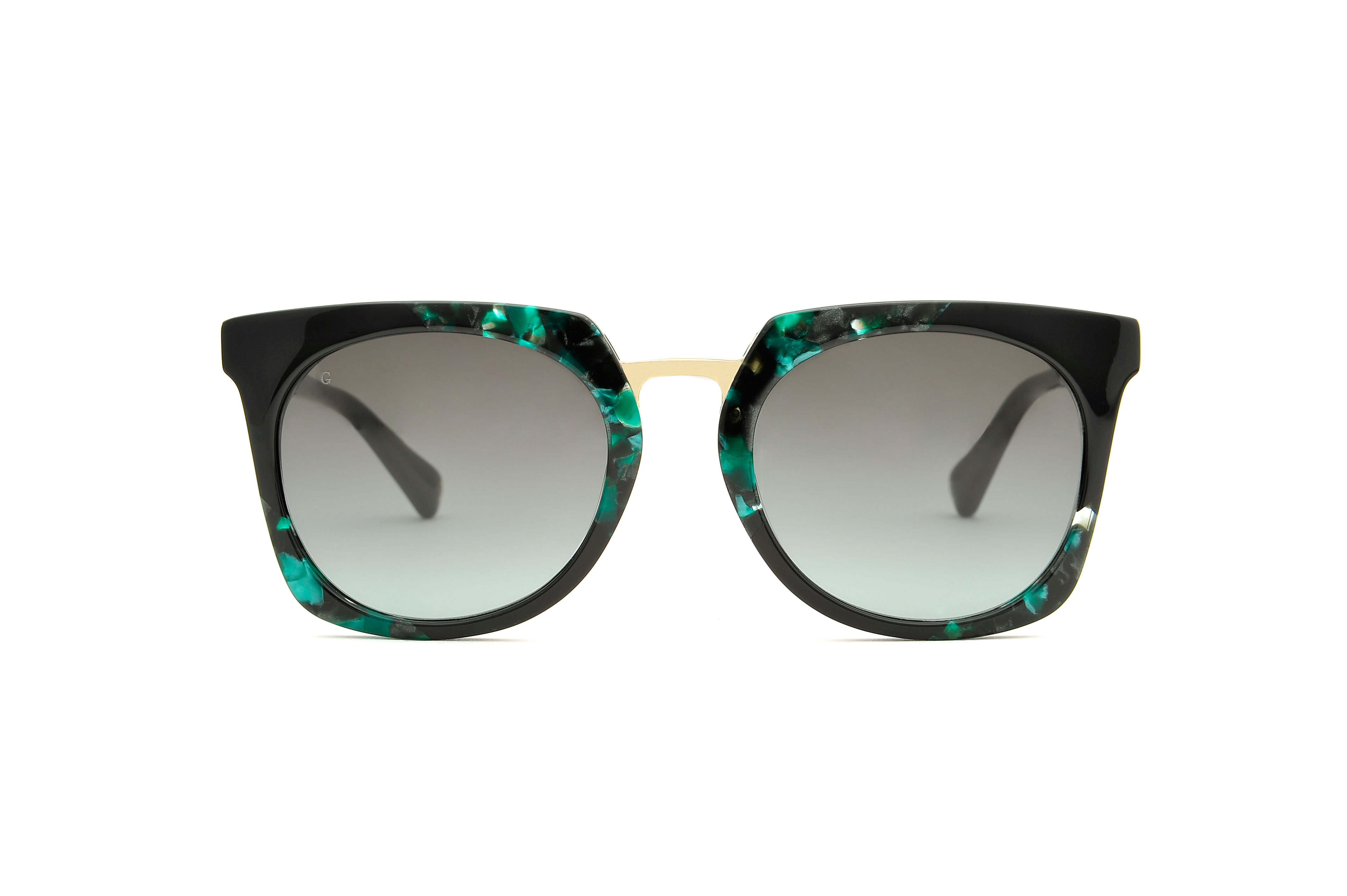 Sunday acetate/metal squared green sunglasses by GIGI Studios