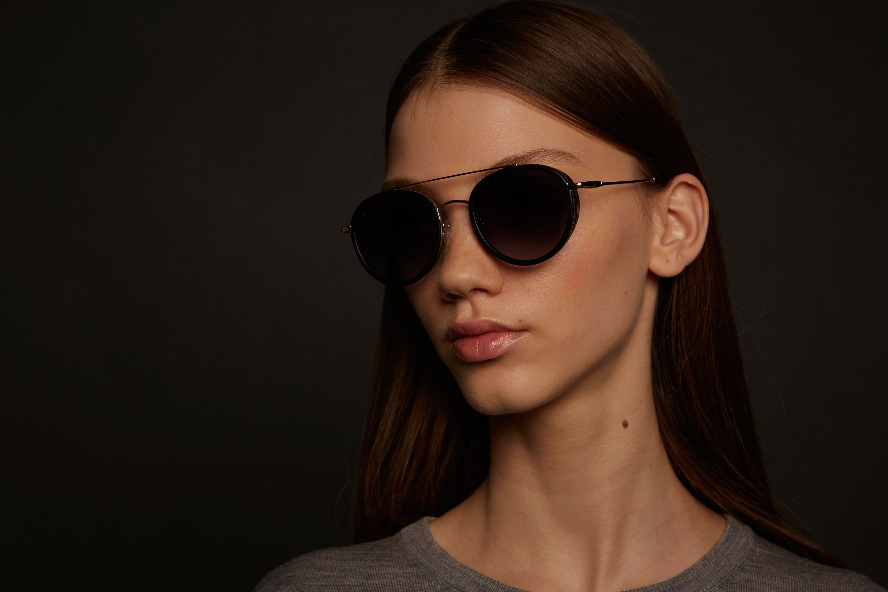 Firenze acetate/metal aviator black sunglasses by GIGI Studios