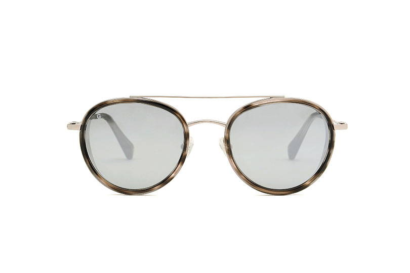 Firenze acetate/metal aviator grey sunglasses by GIGI Studios