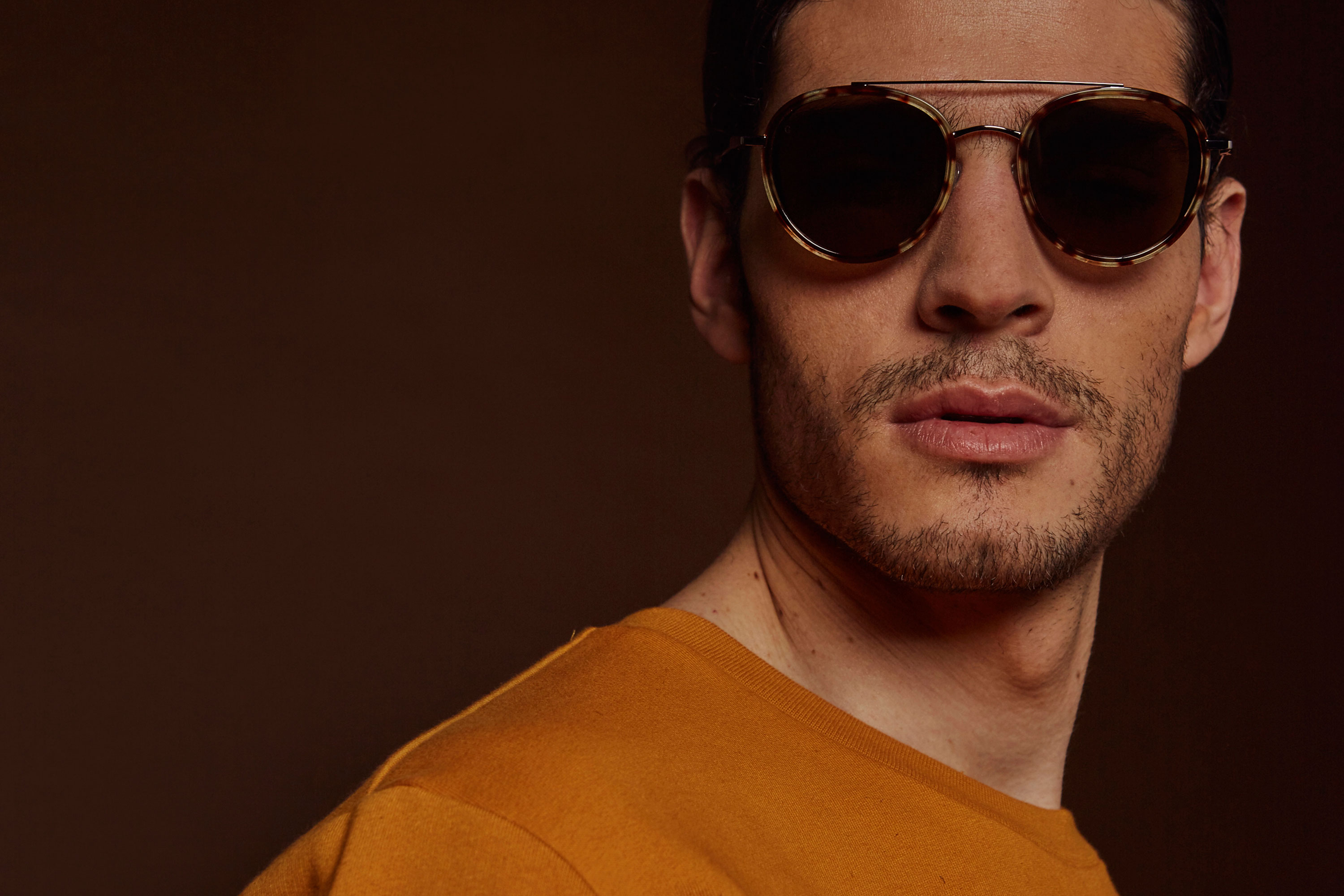 Firenze acetate/metal aviator tortoise sunglasses by GIGI Studios
