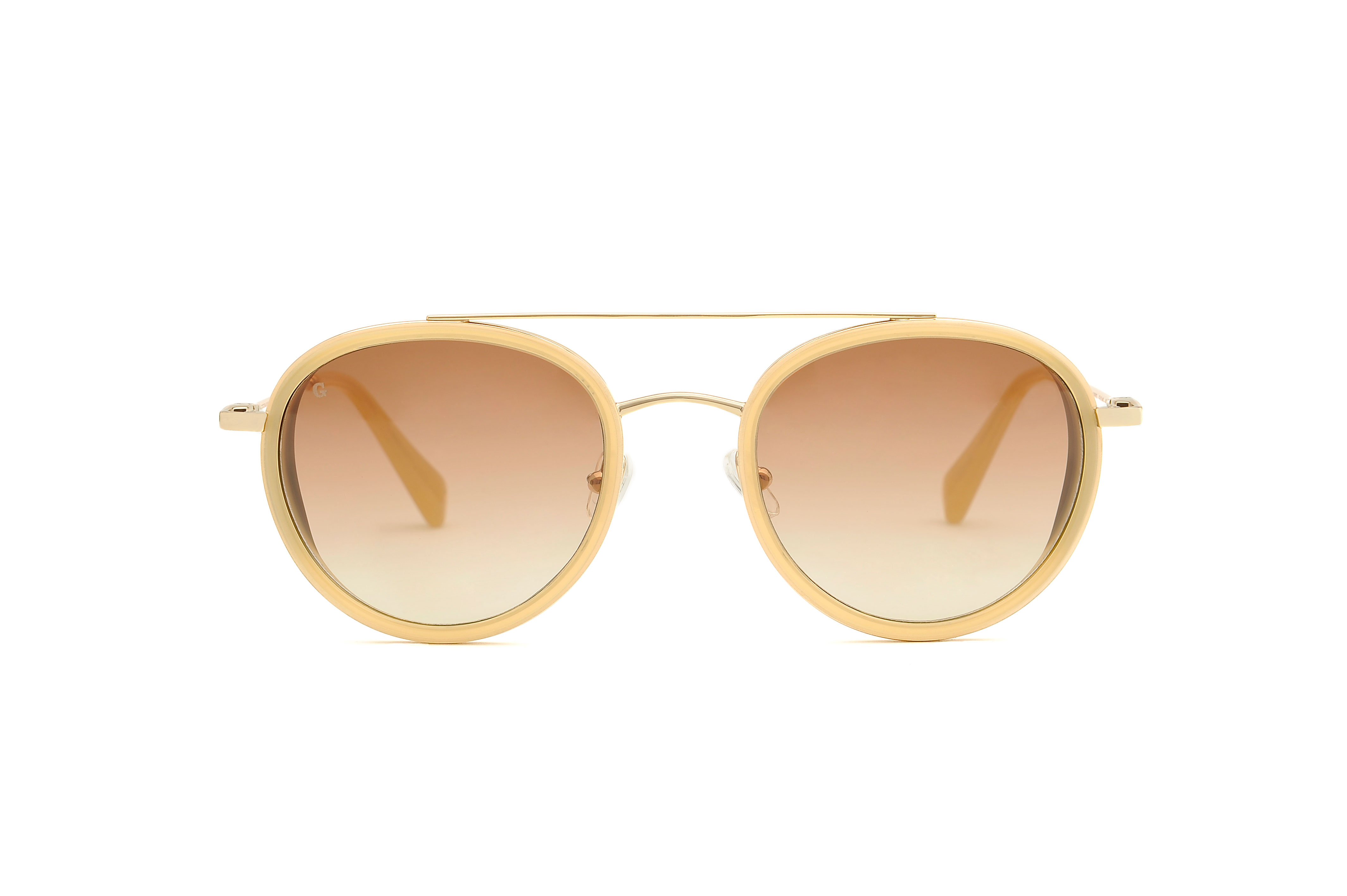 Firenze acetate/metal aviator white sunglasses by GIGI Studios