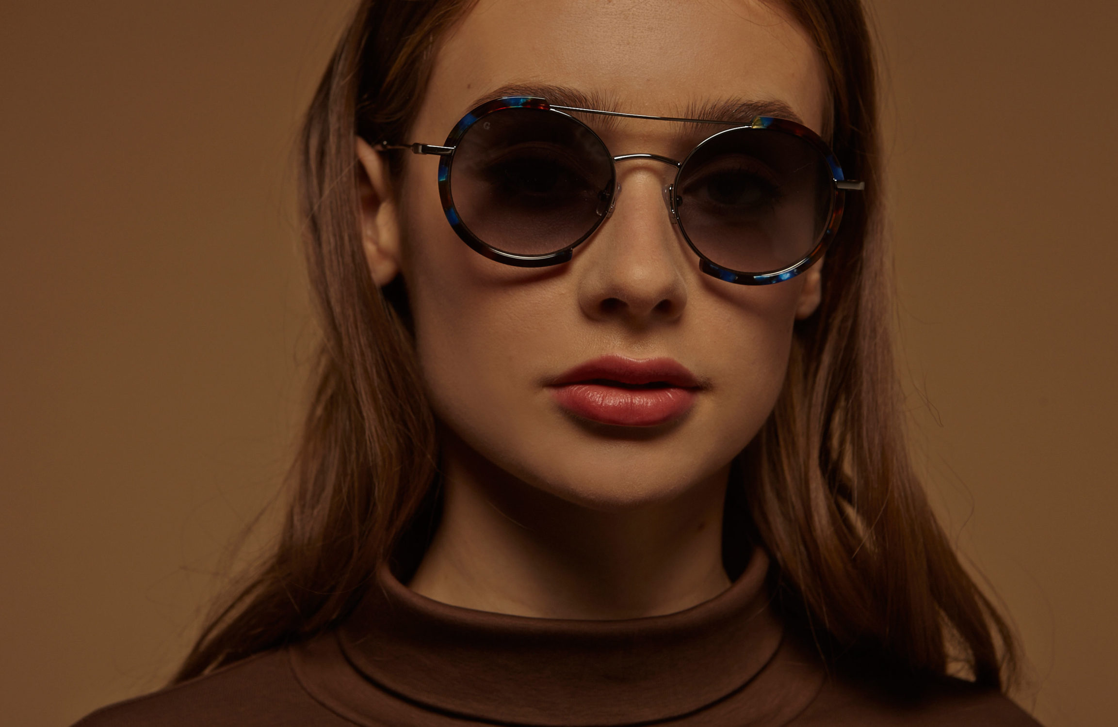 Honolulu acetate/metal rounded blue sunglasses by GIGI Studios