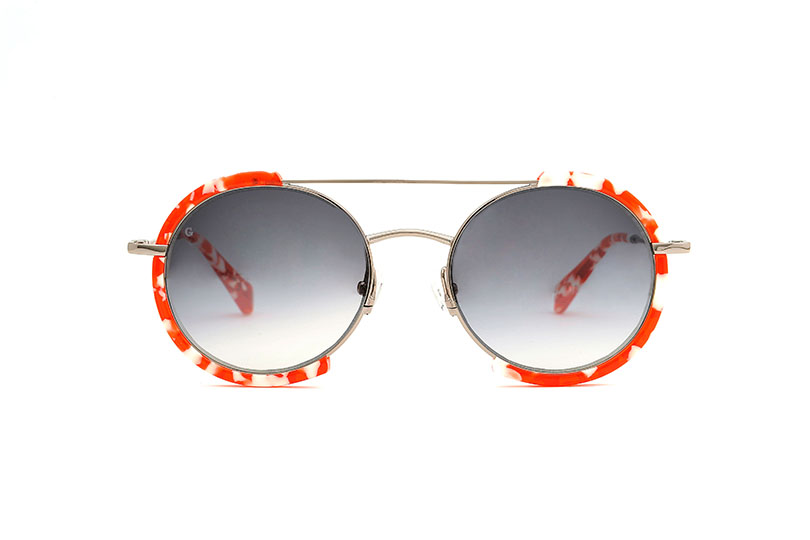 Honolulu acetate/metal rounded red sunglasses by GIGI Studios