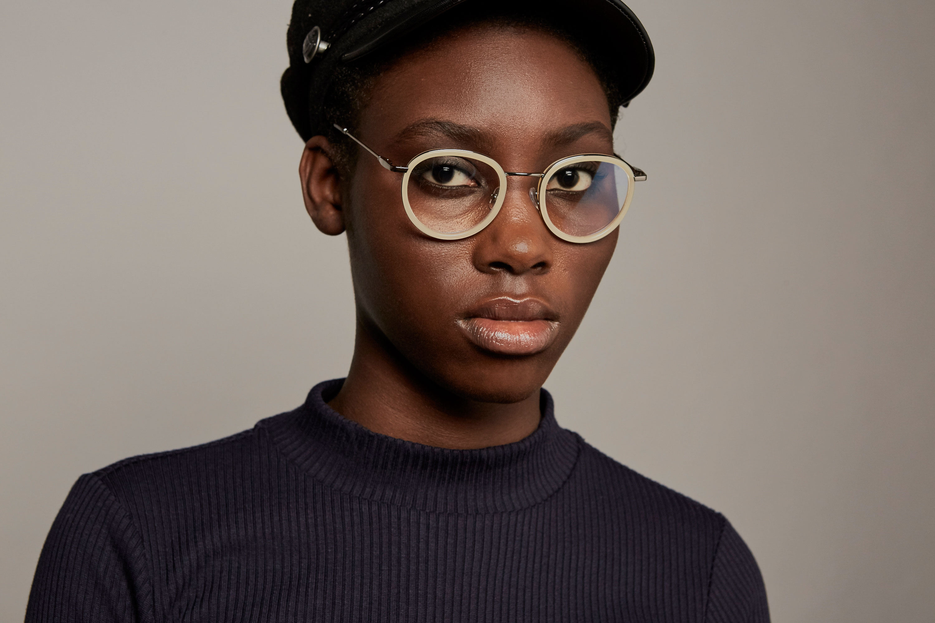 Stendhal acetate/metal rounded white sunglasses by GIGI Studios