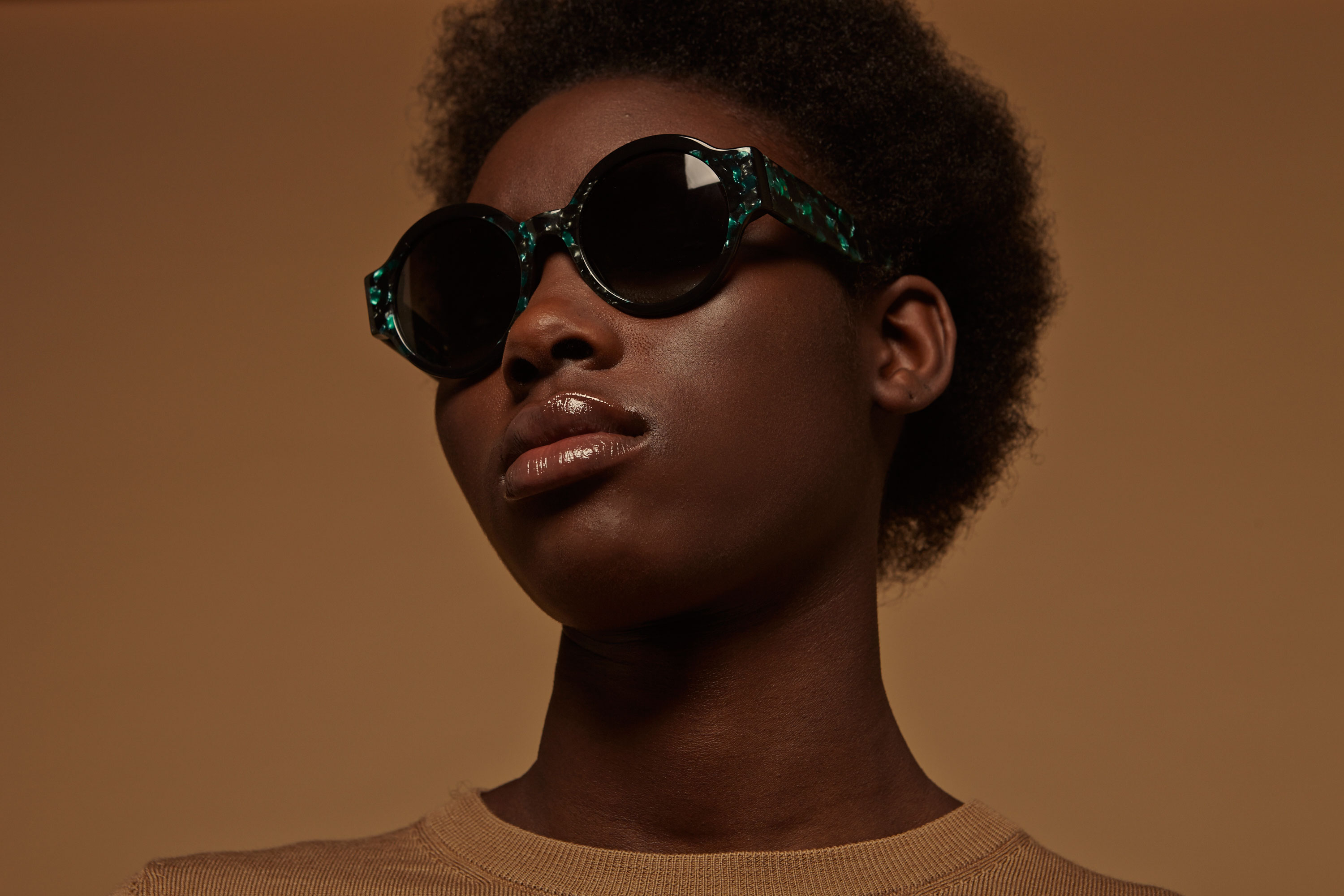 Heart acetate rounded green sunglasses by GIGI Studios