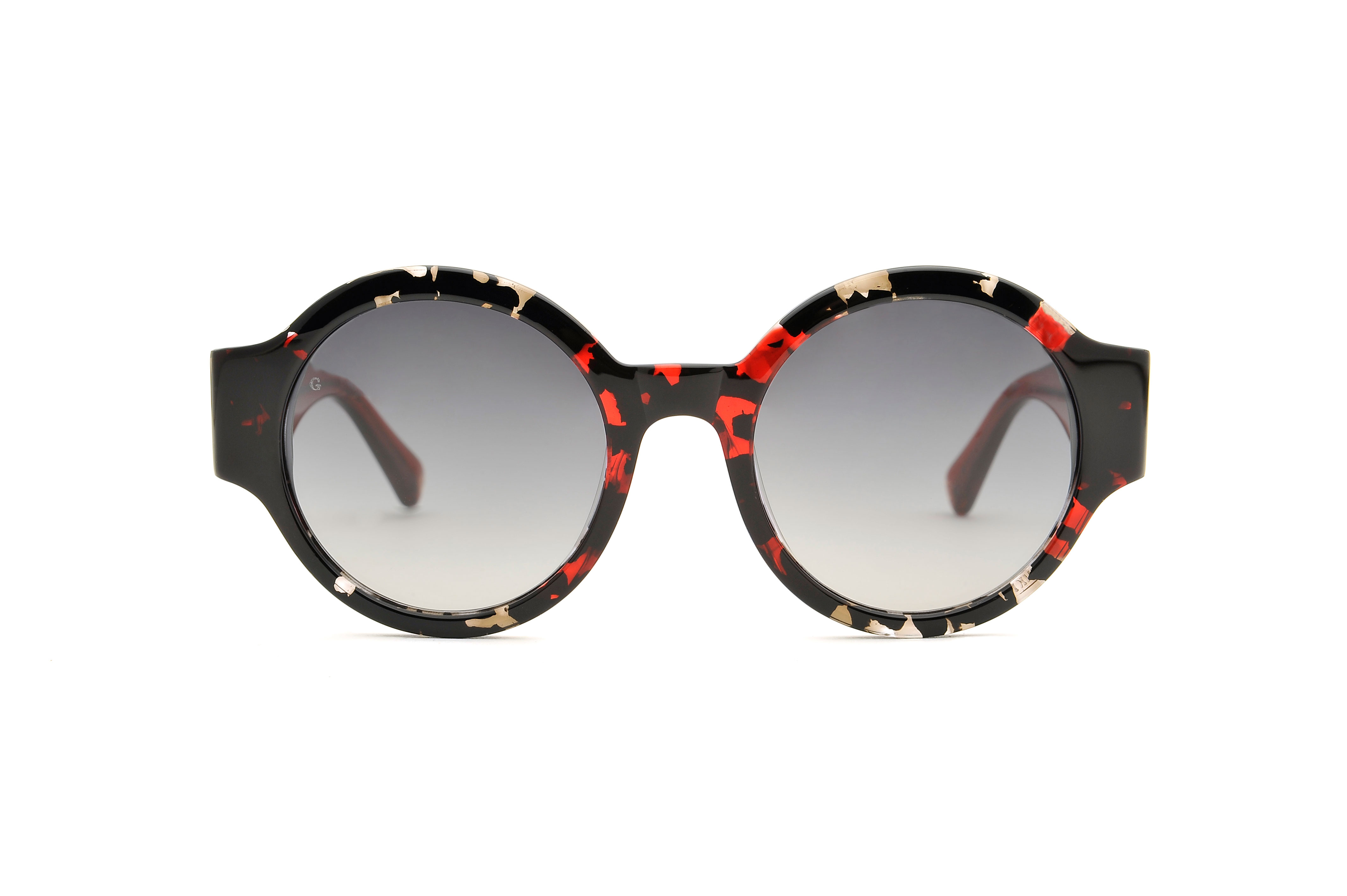 Heart acetate rounded red sunglasses by GIGI Studios