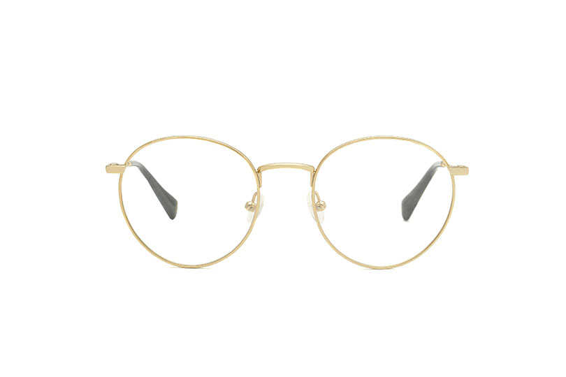 Blues metal rounded gold sunglasses by GIGI Studios