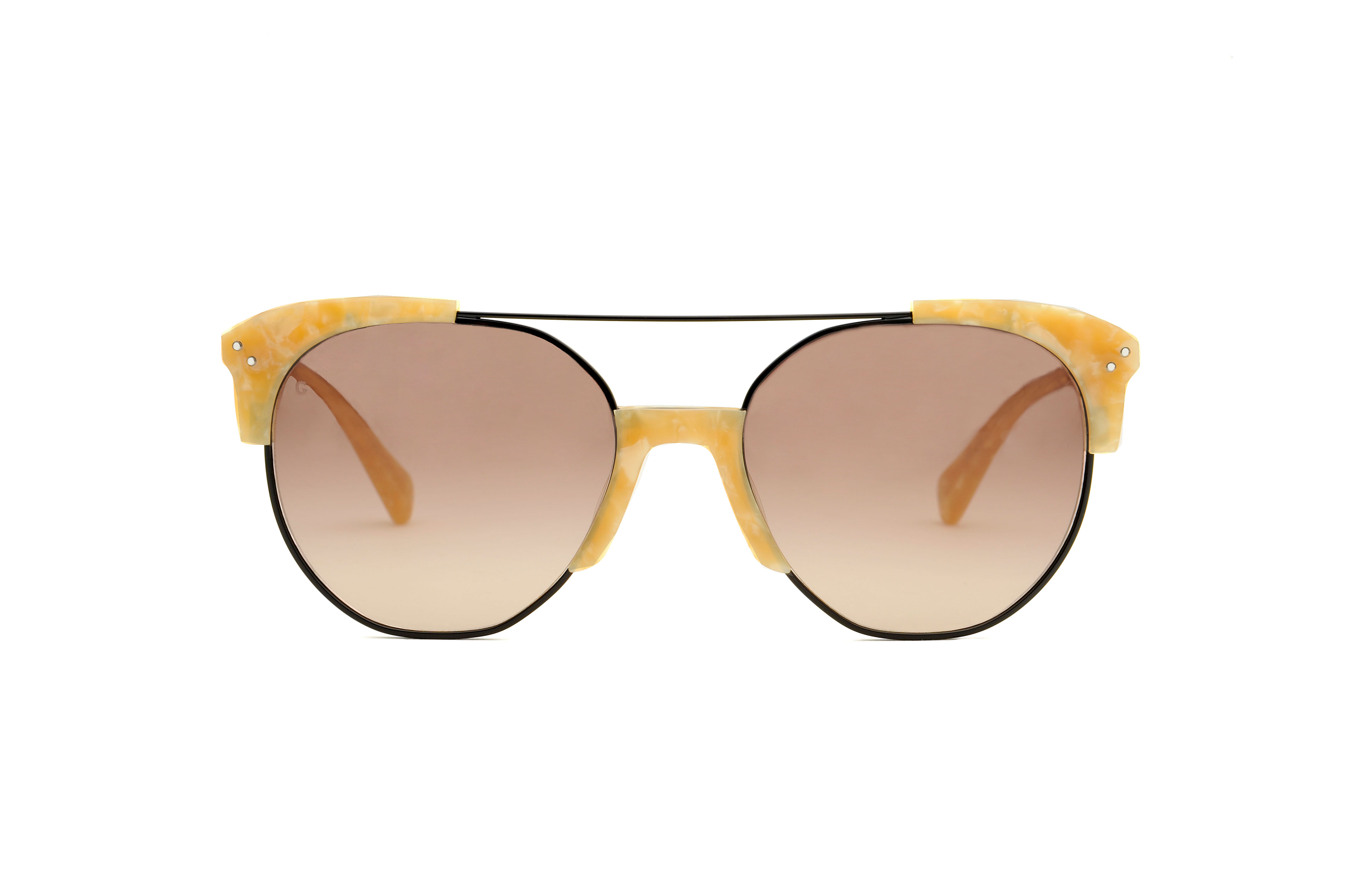 Brixton acetate/metal aviator yellow sunglasses by GIGI Studios