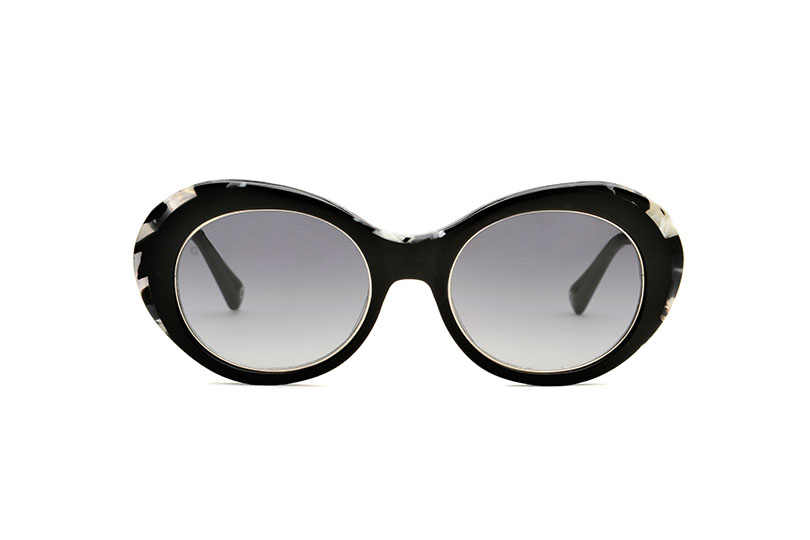 Jade acetate rounded black sunglasses by GIGI Studios