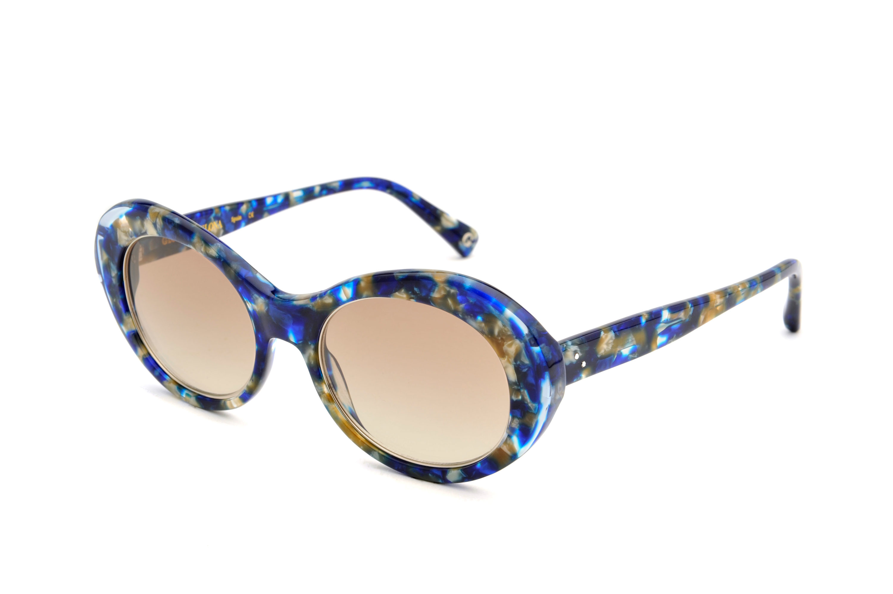 Jade acetate rounded blue sunglasses by GIGI Studios