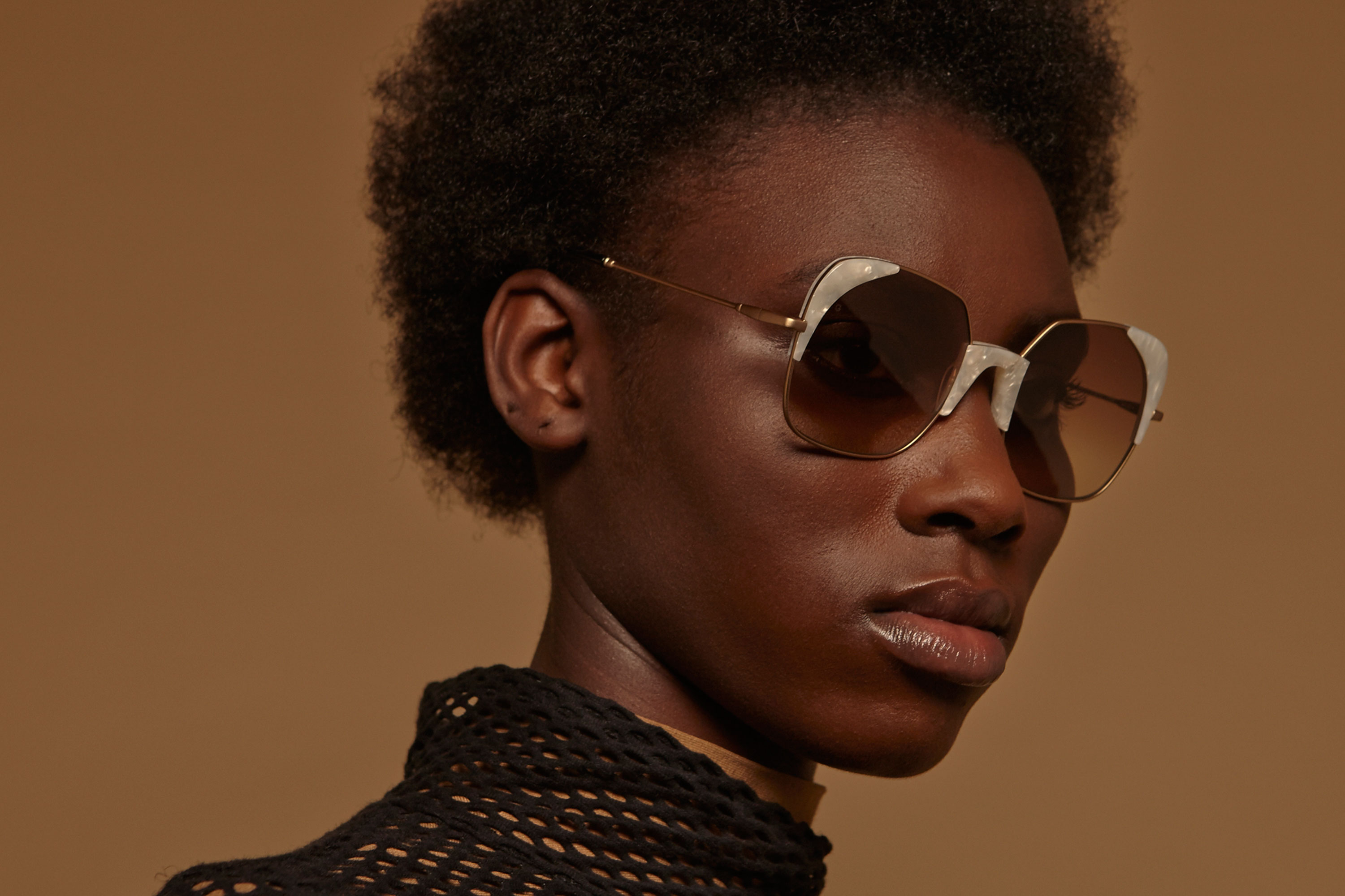 Adara acetate/metal squared white sunglasses by GIGI Studios