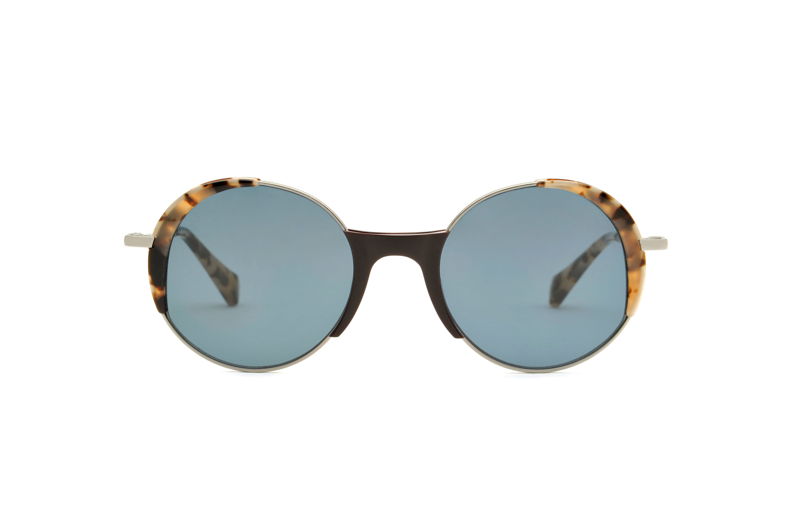 Lena acetate/metal rounded black sunglasses by GIGI Studios
