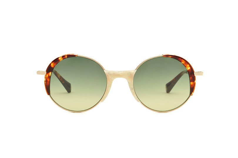 Lena acetate/metal rounded white sunglasses by GIGI Studios
