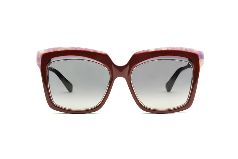 Bella acetate squared red sunglasses by GIGI Studios