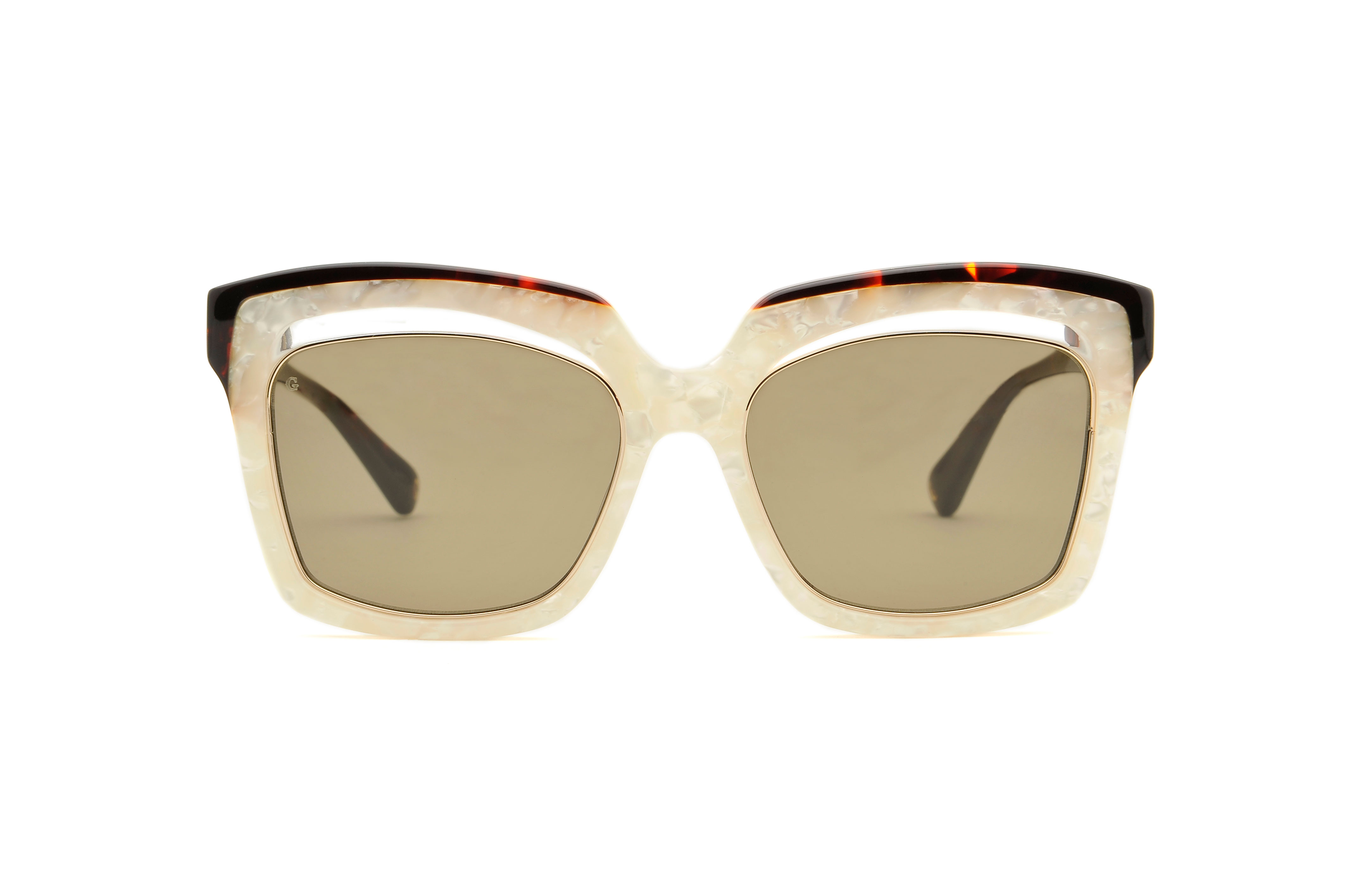 Bella acetate squared white sunglasses by GIGI Studios