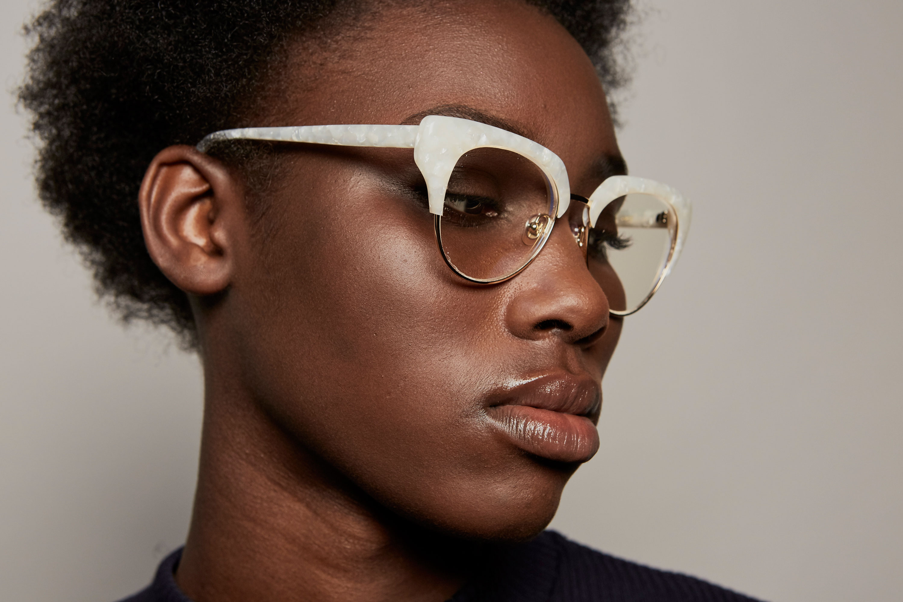 Riviere acetate/metal cat eye white sunglasses by GIGI Studios