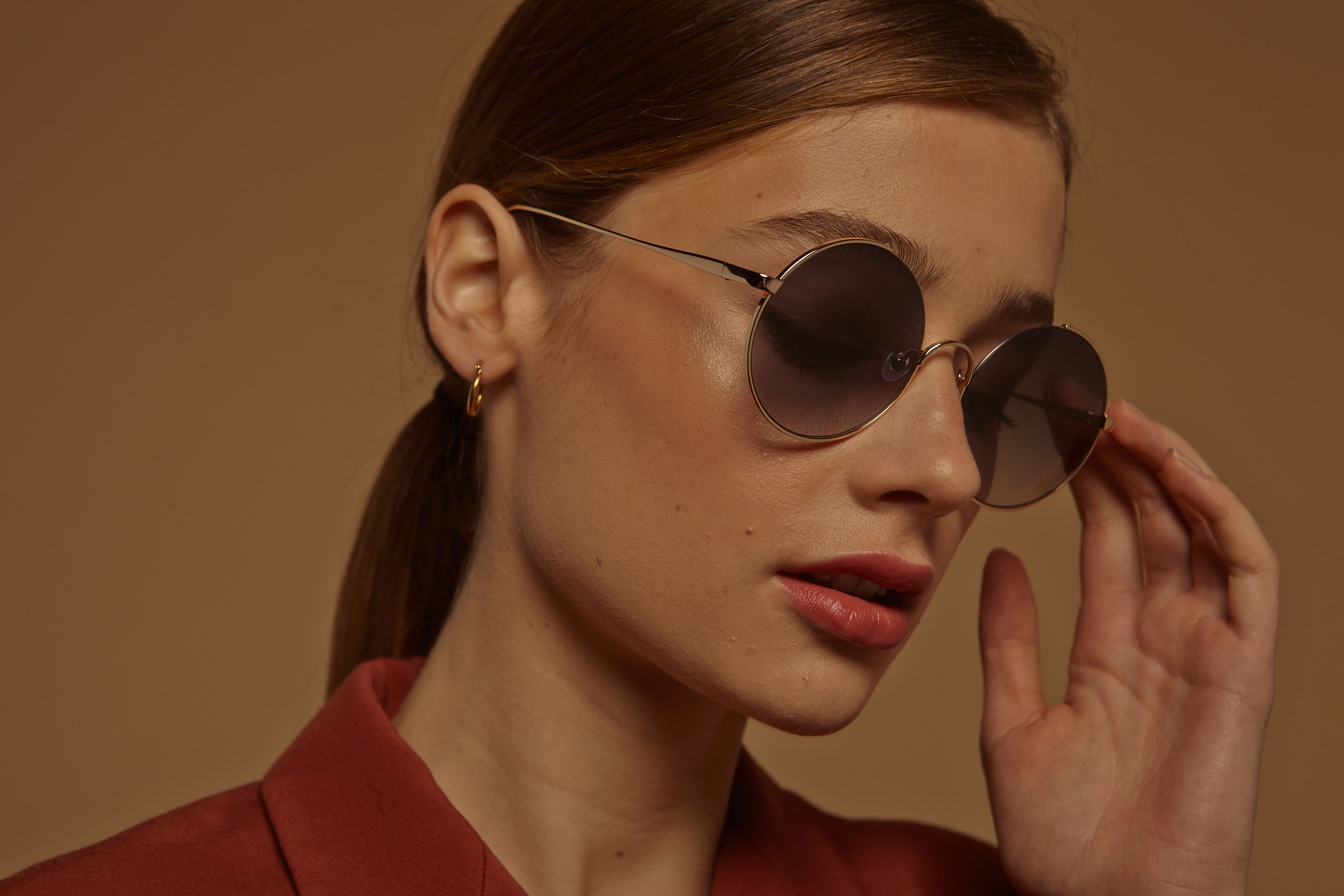 Bali metal rounded gold sunglasses by GIGI Studios