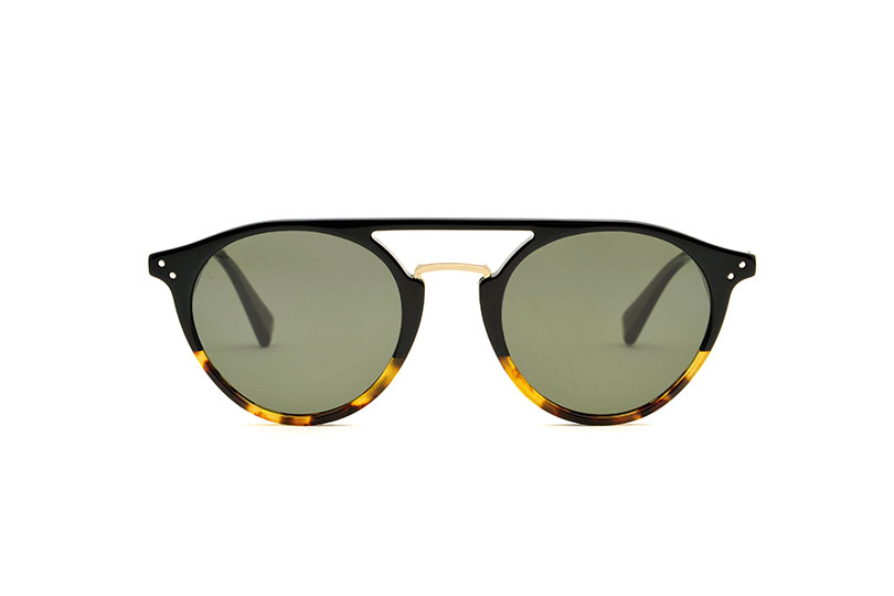 District acetate/metal aviator black sunglasses by GIGI Studios