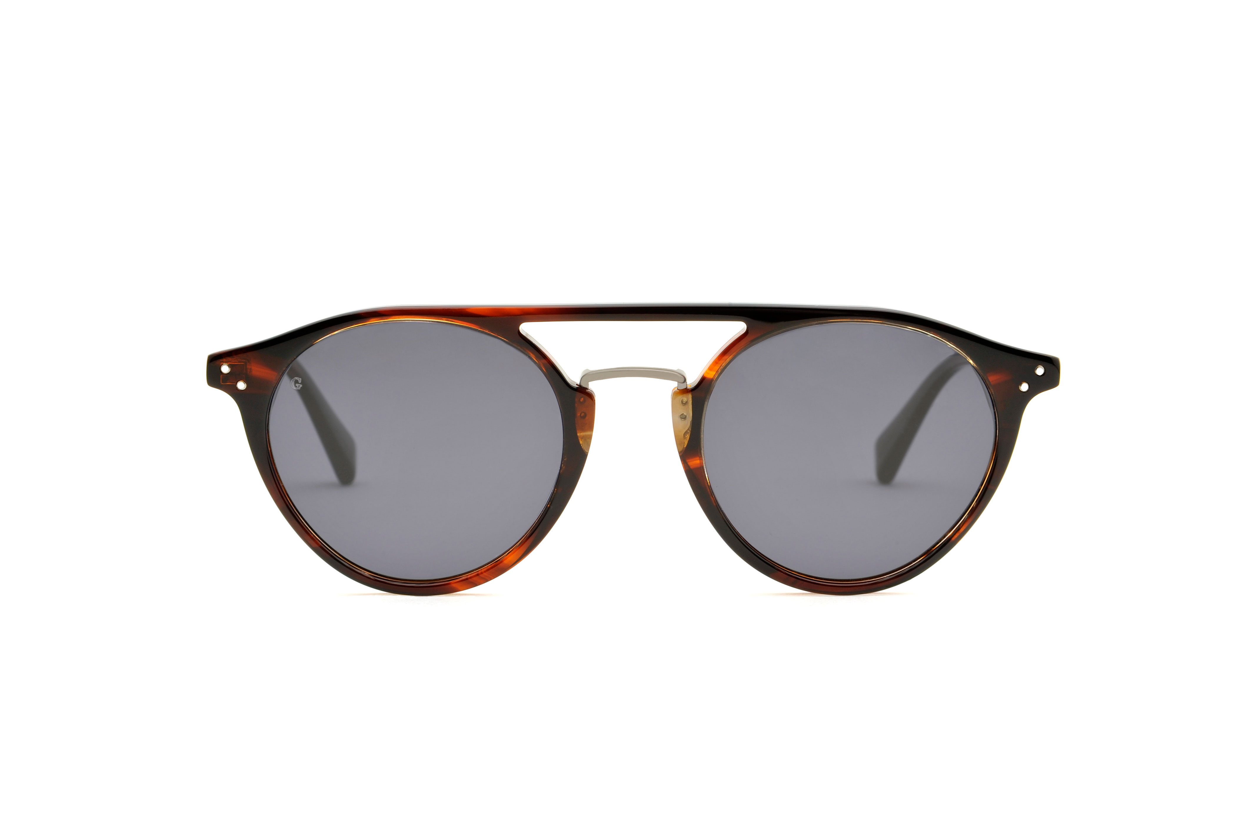 District acetate/metal aviator brown sunglasses by GIGI Studios