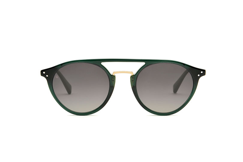 District acetate/metal aviator green sunglasses by GIGI Studios