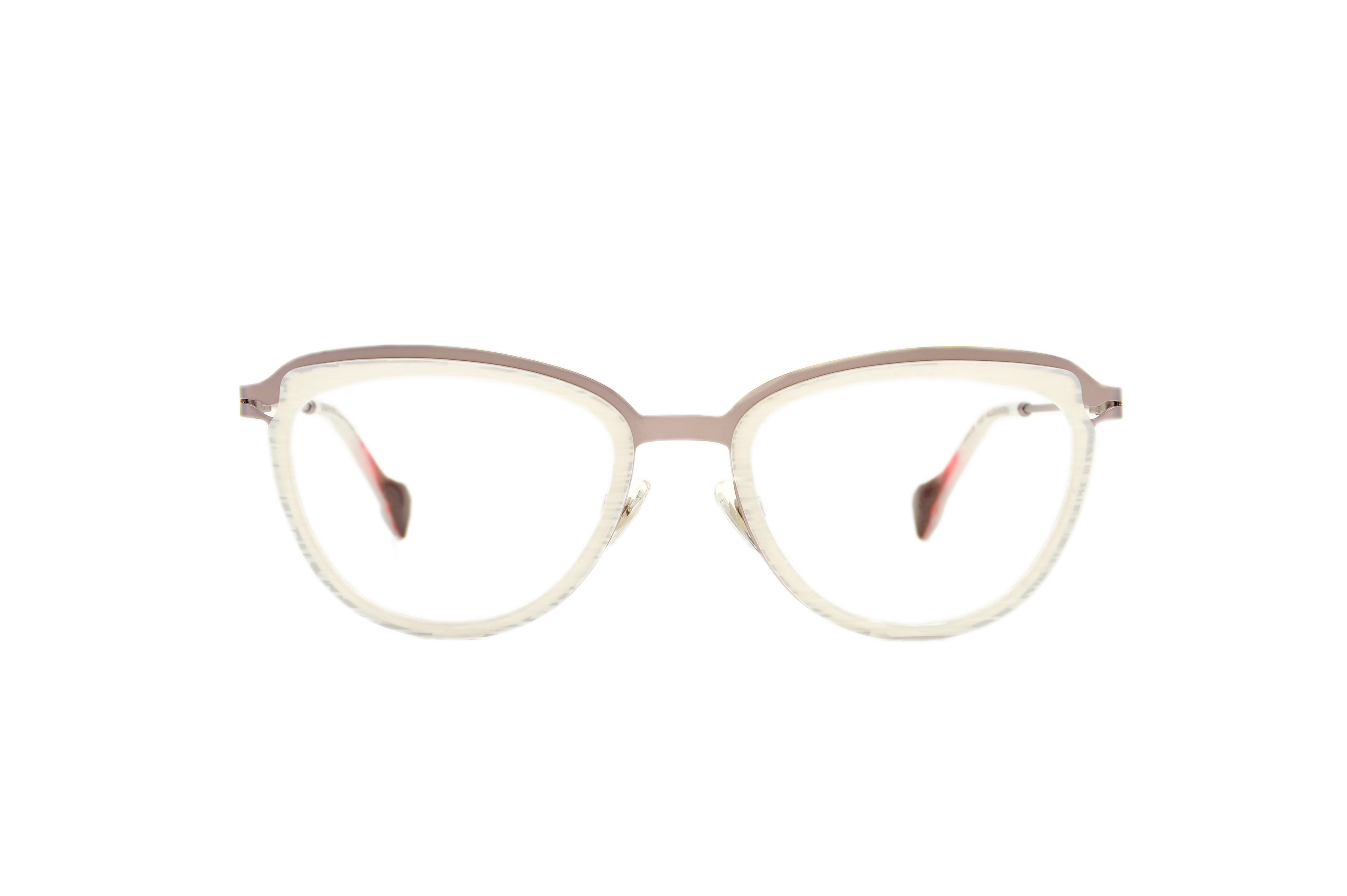 Alexandra acetate/metal cat eye white sunglasses by GIGI Studios