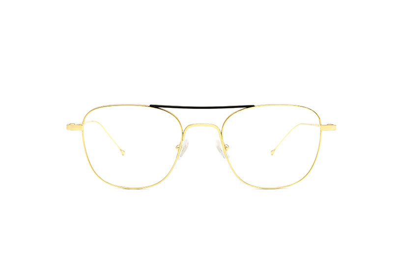 Manhattan titanium squared gold sunglasses by GIGI Studios